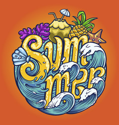 summer wave typeface tropical for your work logo vector image