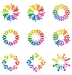 Teamwork people human colorful logo design vector