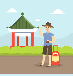 tourist with suitcase sightseeing man exploring vector image
