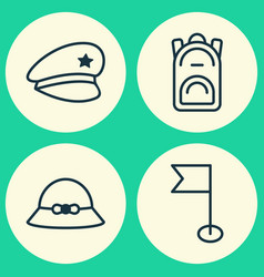 Travel icons set collection of rucksack woman vector