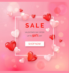 valentines day holiday offer web banner with vector image