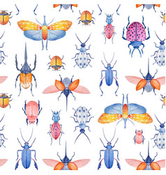 Watercolor beetle pattern vector
