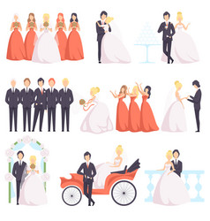 wedding couple celebrating with their friends set vector image