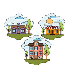 White background with set of rural houses scenes vector