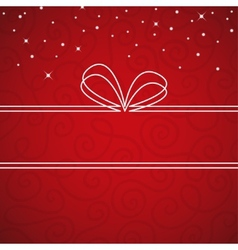 White bow frame on a red textural background vector image