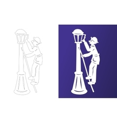 Winter paper cut lamplighter wycinanka vector