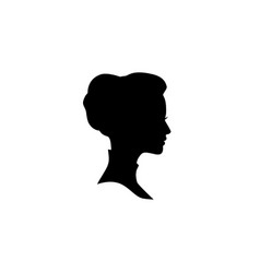 Woman face silhouette lady profile with retro vector