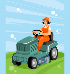woman on a tractor vector image