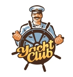 Yacht club logo ship captain sailor or vector