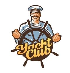 Yacht club logo ship captain sailor or vector