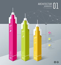 Infographics Architectur building design origami vector image vector image