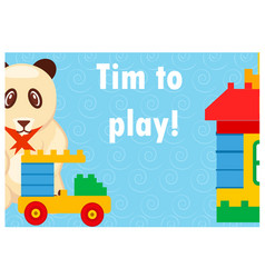 time to play colorful poster with toys on blue vector image vector image