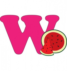 w is for watermelon vector image vector image