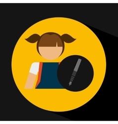 girl uniform school pen icon vector image