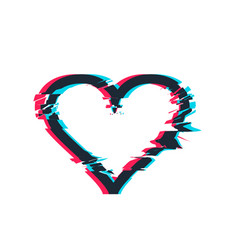 glitch distortion frame heart vector image vector image