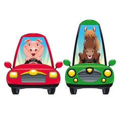Animals in the car Pig and Horse vector image vector image
