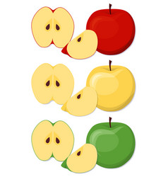apples set in cartoon style vector image vector image
