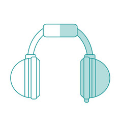 blue shading silhouette cartoon headphones for vector image