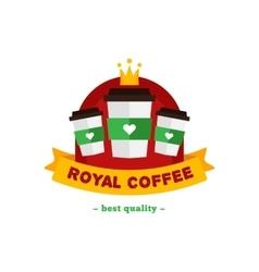 flat modern coffee shop or cafe logo vector image vector image