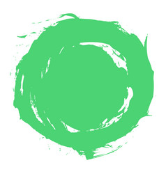green brush stroke circle shape vector image vector image