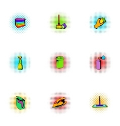 Sanitary day icons set pop-art style vector image