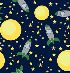 Seamless Pattern with Rockets and Planets vector image
