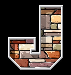 stone letter J vector image vector image