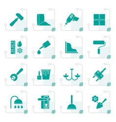 Stylized construction and building equipment icons vector