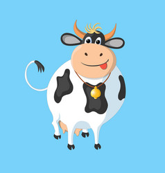 the white cow with black spots on a blue vector image vector image