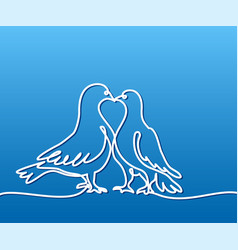 two doves logo white on blue gradient background vector image vector image