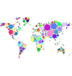 abstract worldmap colorful dots isolated on white vector image