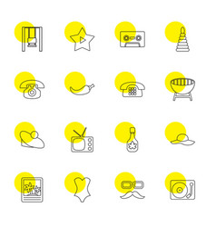 16 vintage icons vector image
