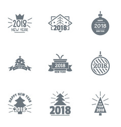 2018 new year logo set simple style vector