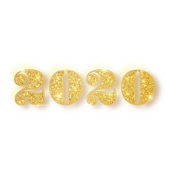 2020 glitter typography design gold sparkling vector