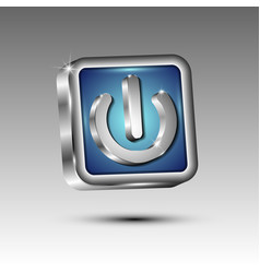 3d button with power symbol vector image