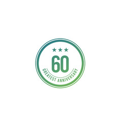 60 years anniversary blue circle design logo vector