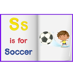 A picture of kid playing soccer in book vector