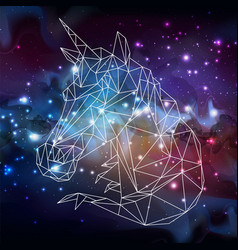 Abstract polygonal fantasy animal unicorn vector