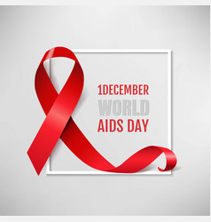 Aids day symbol red ribbon grey background vector