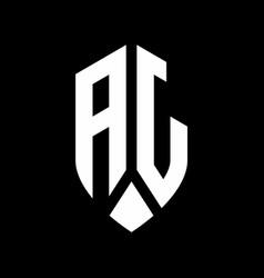 aj logo monogram with emblem shield style design vector image