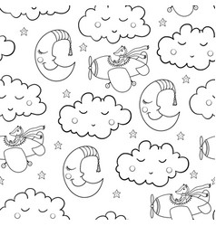 Awesome seamless patterm with cartoon sleeping vector