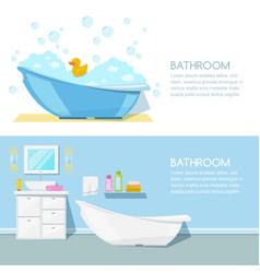 bathroom modern interior banner bathtub vector image