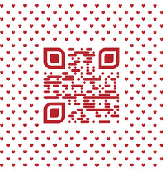 be my valentine text qr code with hearts vector image