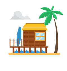 Beach bungalow with palm and surf vector