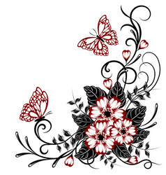 beautiful floral background with butterflies vector image