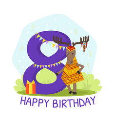 birthday anniversary number and cute ethnic vector image