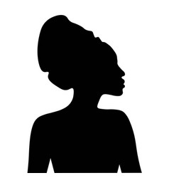 Black silhouette african woman in headdress vector