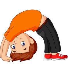Boy practicing upward bow yoga pose vector
