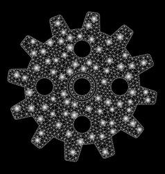 Bright mesh network cogwheel with flash spots vector