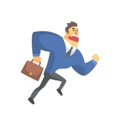 Businessman Top Manager In A Suit Running Late vector image